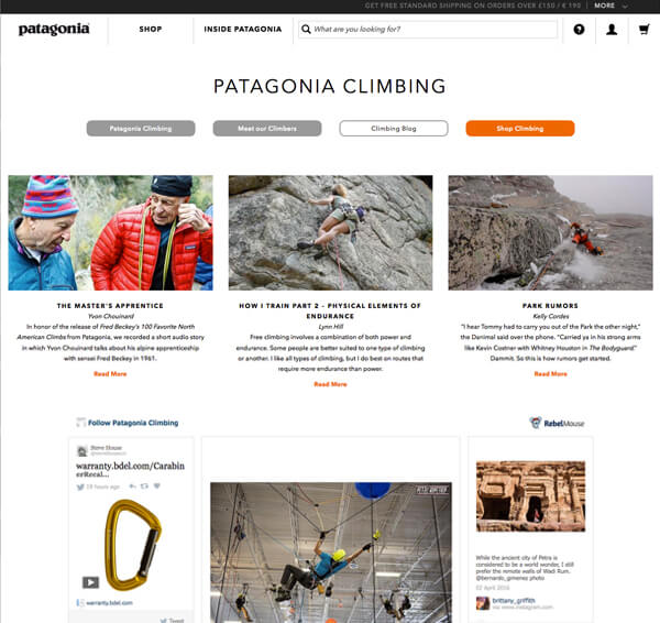patagonia great content marketing example multiple blogs