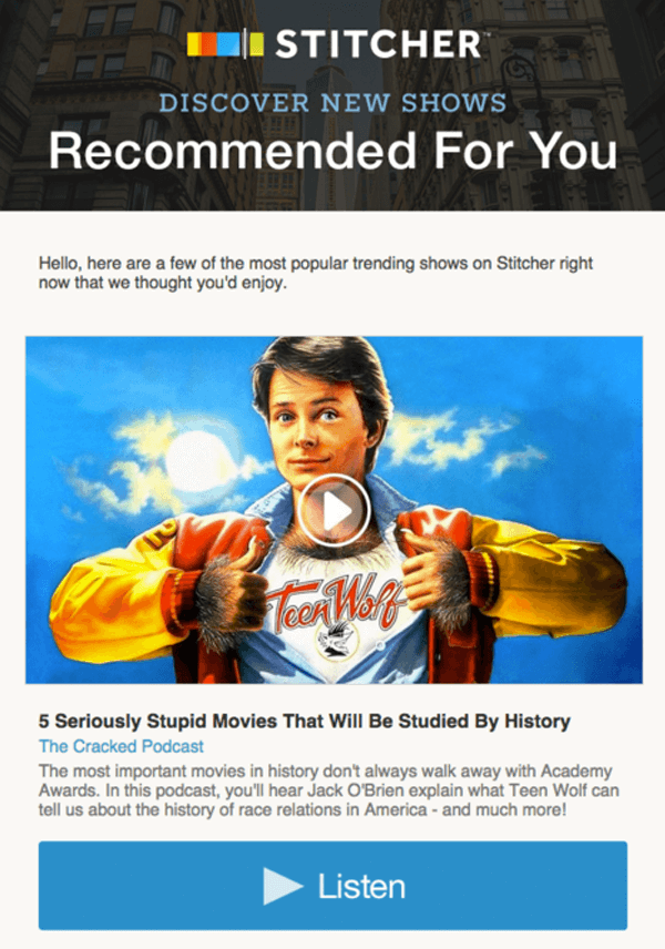 sticher email marketing example - recommended for you
