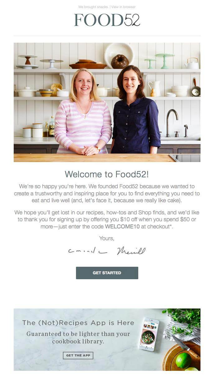 Food52 Welcoming Email