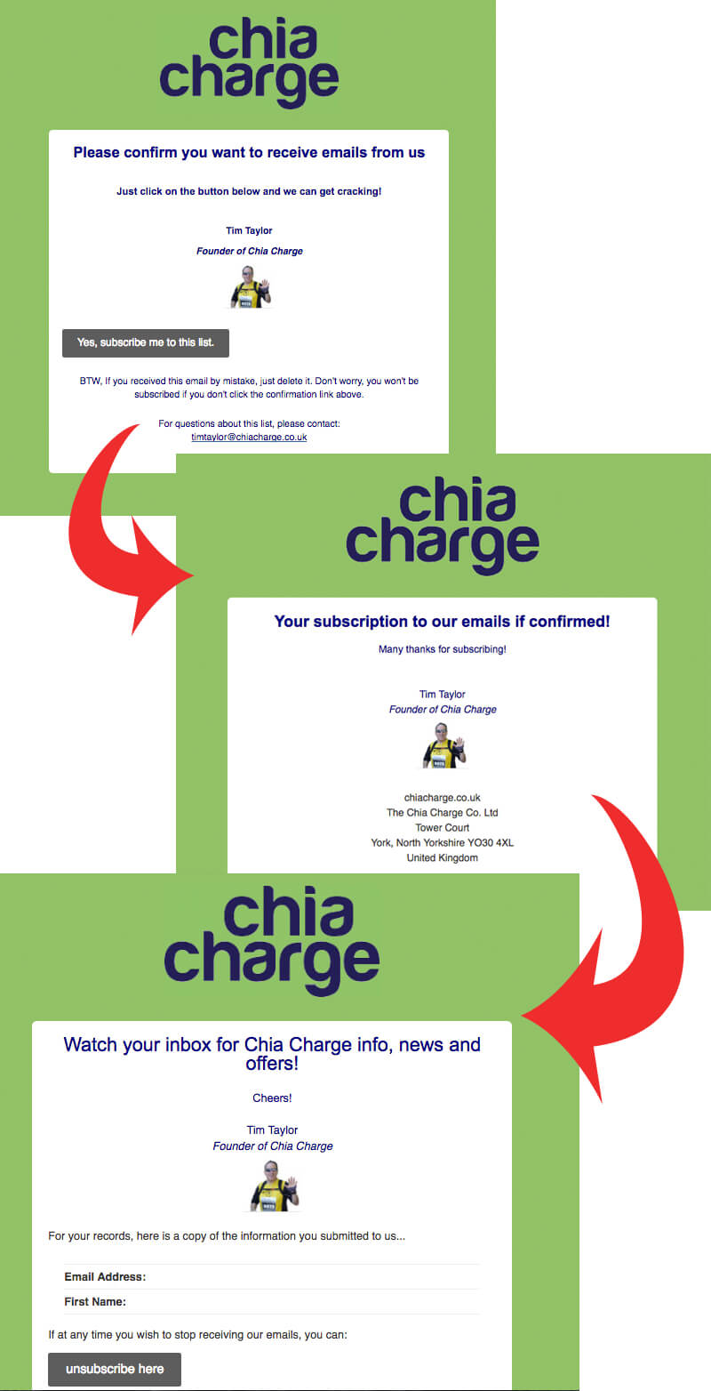chia charge mailchimp double opt in sign up process