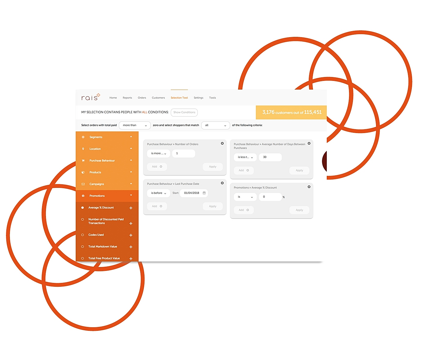 Real-time campaign selections - Create selections of specific customers for your: Email, Direct Mail, Facebook Ads or Google Ads campaigns in seconds. Iterate through different combinations of customers to see how big selections are and how many people you have permission to contact. Then automatically send your selections to your Marketing Platforms or export to CSV.Fast, flexible and easy to use.