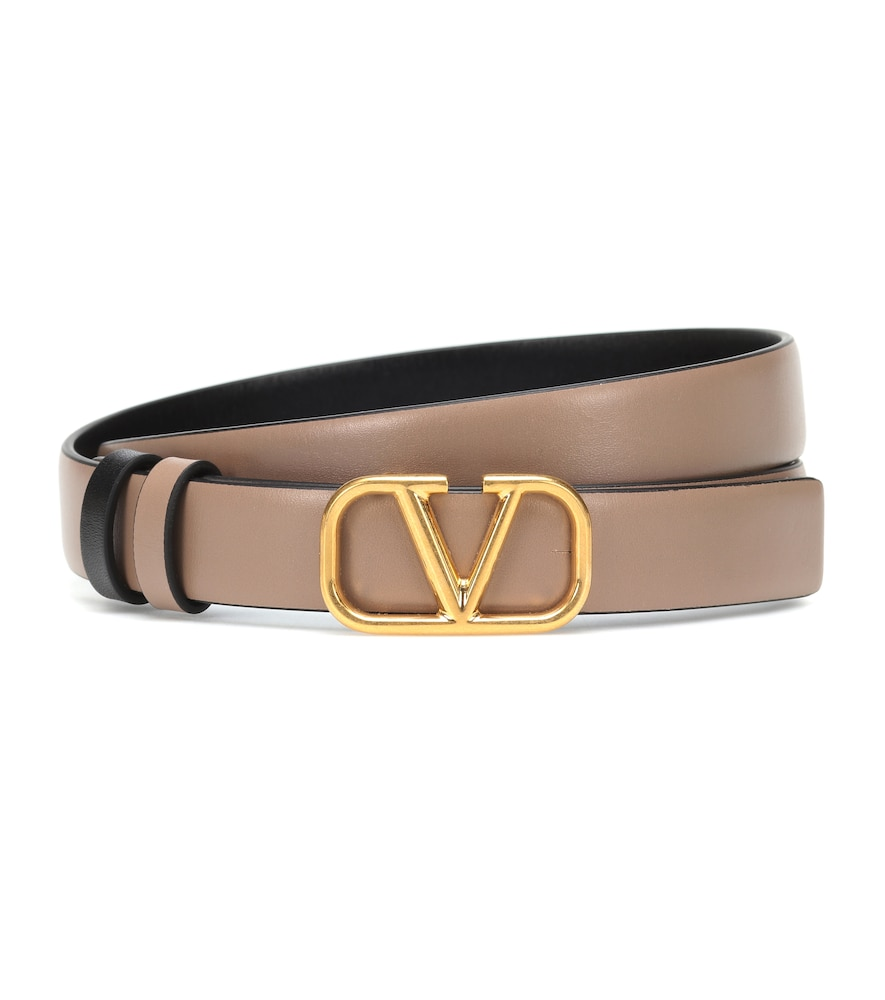 This Italian-crafted leather belt bears Valentino's new-season VLOGO monogram, rendered in gleaming golden metal for a glamorous look.