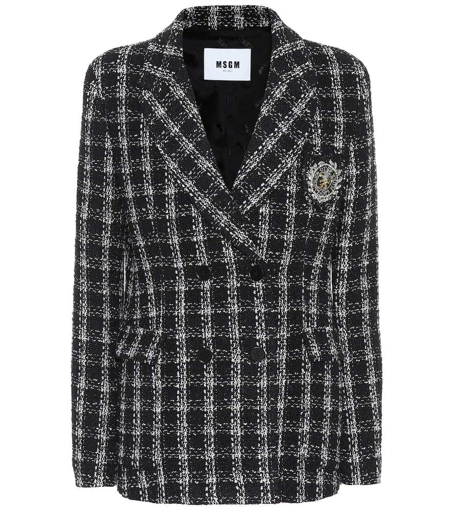 Add heritage charm to your blazer rotation with MSGM's black and cream tweed style that has a charming double-breasted front fastening and curved notched lapels.