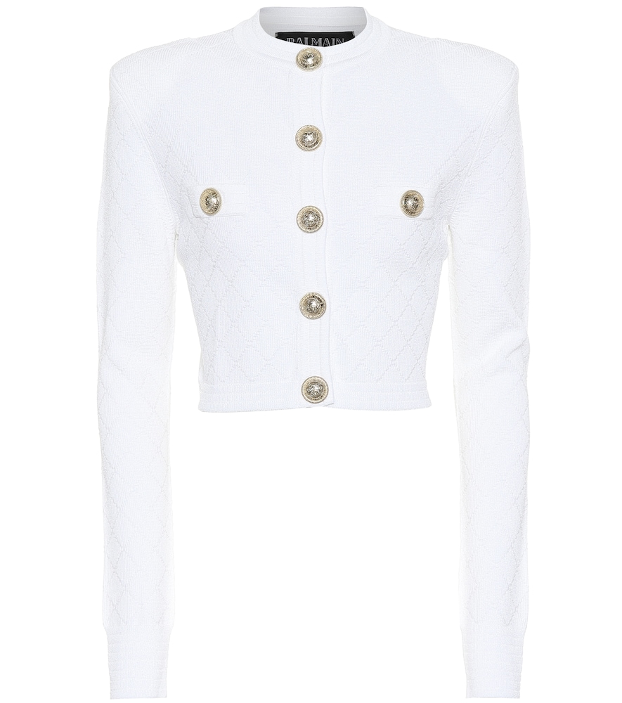 Cut a sleek silhouette with this knitted jacket from Balmain.