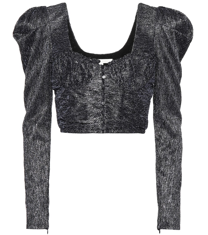 A shimmering metallic jacquard elevates this crop top from Jonathan Simkhai to ultra-glamorous heights.