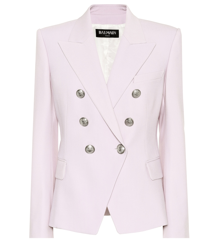 """Reimagined here in a light """"Lilac"""" purple, Balmain's blazer has become an iconic piece of fashion history thanks to its razor-sharp silhouette and hallmark details.   SALE: £ 1,155"""