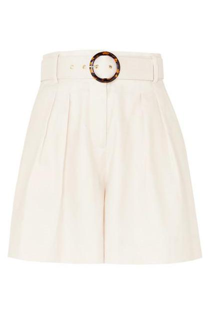Rebecca Vallance - Taylor Belted Pleated Linen And Cotton-blend Shorts - Ivory  £ 265