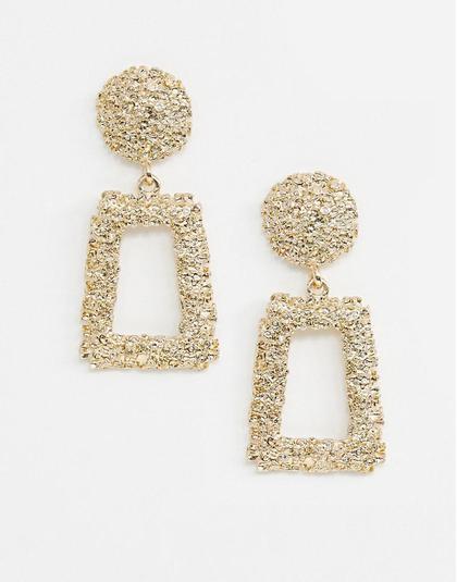 ASOS DESIGN   Earrings in square shape in gold  £8.00