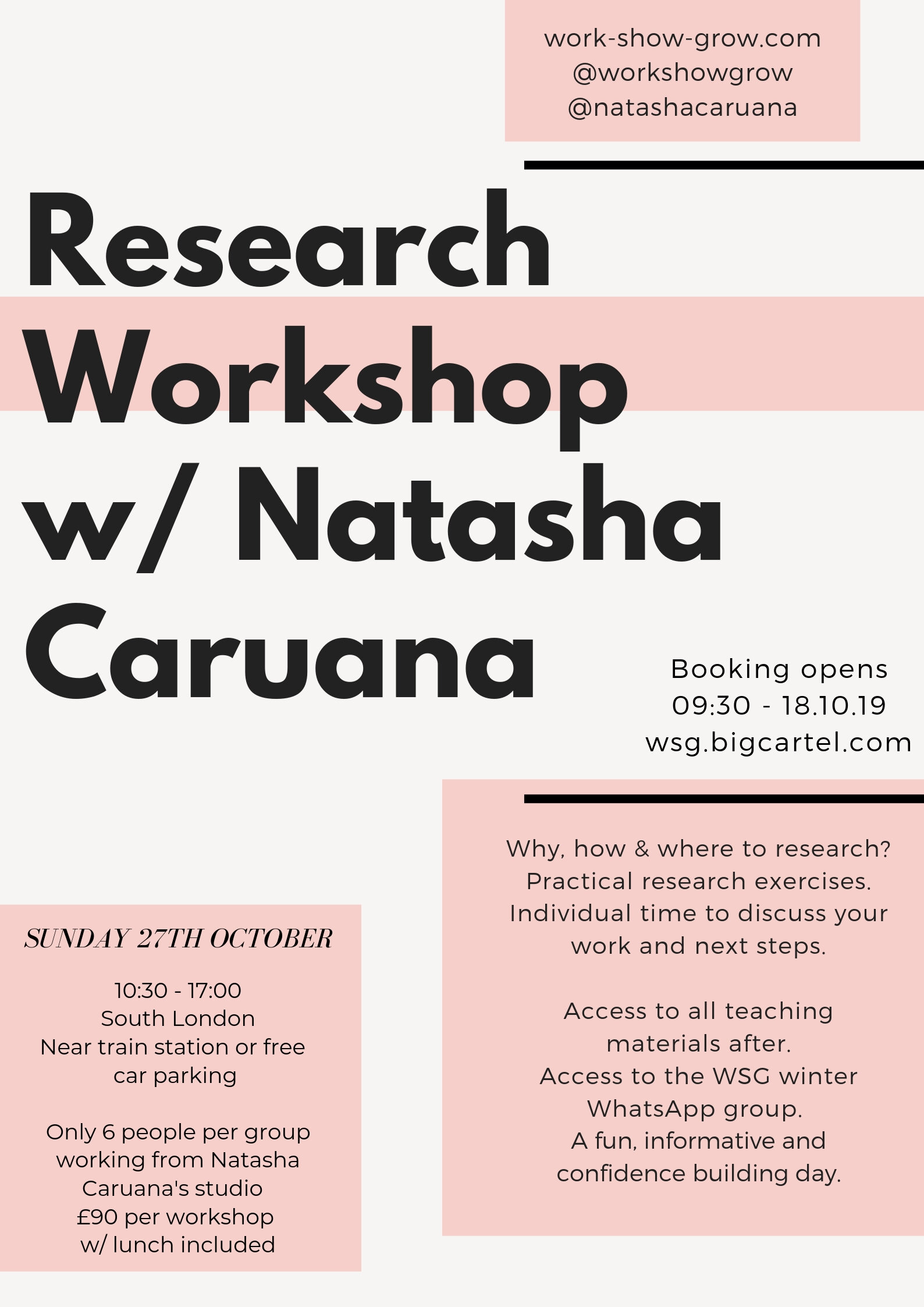 RESEARCH -Sunday 27th October10:30 - 17:00BOOK HERE - Why, how & where to research?Practical research exercises.Individual time to discuss your work and next steps.