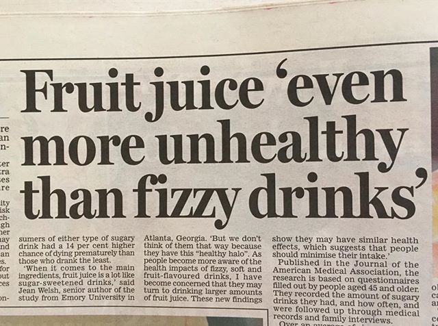 Research just published by the American Medical Association report fruit juice is not healthy! This is indeed true if more than 150ml (Recommended Daily Allowance) is drunk per day.  Fruit juice is often seen as the healthy alternative but it has around 5tsps sugar per 200ml - exactly to same as Coca Cola! Keep fruit juice to just one small glass with your breakfast and no more! #healthyteeth #dietitian4kids #nomorefruitjuice