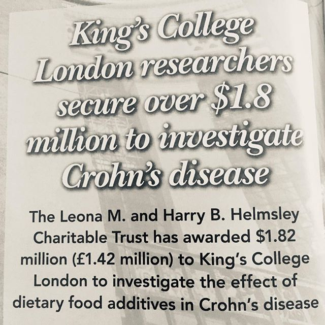 "This is fantastic news for patients with Crohn's Disease! I am often asked in clinic ""what is the best diet to keep my Crohn's disease in remission?"" Currently a low processed, nutritionally balanced healthy diet is recommended but if we could find out exactly what additives to avoid, this would help to define dietary advice further. Well done to Kings College nutrition researchers for securing this funding #CICRA#Crohn'sdisease#foodadditives#dietitian4kids#dietforCrohn's#kingscollege#bda"