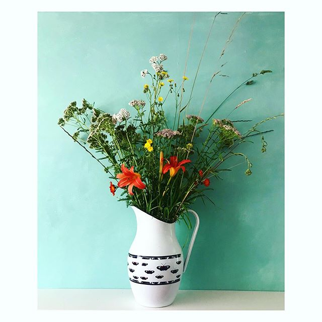 Saturday morning wild flower arrangement ft enamel jug