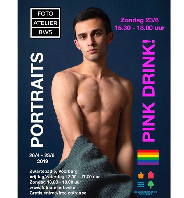 Zondag 23 juni is er een Pink Drink ofwel Roze Borrel in Foto Atelier BW5 van 15.30 - 18.00 uur.  Met live optreden van de jonge Spaanse danser Daniel Dominguez. Onder de bezoekers wordt een één van zijn foto's verloot!  Zondag is ook de laatste dag van de foto-expositie Portraits.  #lhbti #rozeborrel #pride #lgbt #fotos #portretten #dans #danser #fotogalerie #galerie #kunst #fotografie
