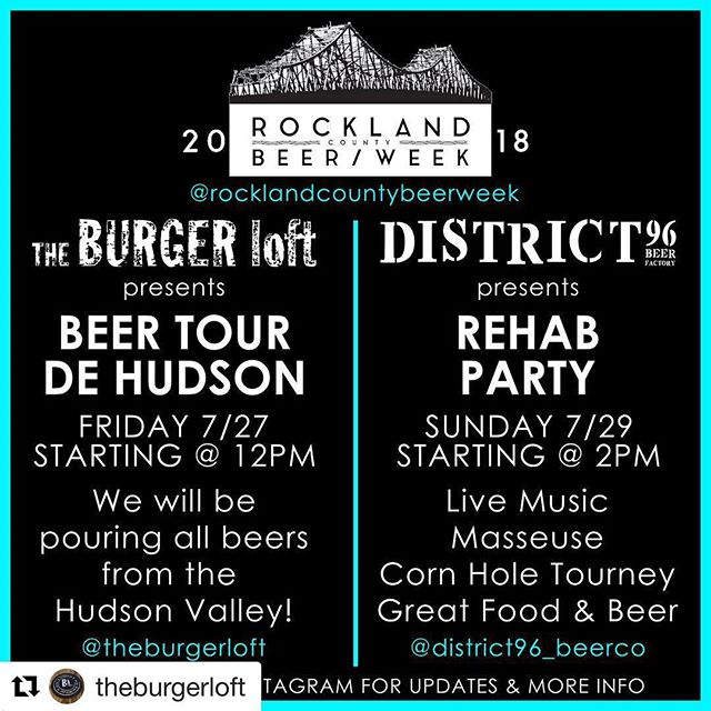Tonight! @theburgerloft #Repost @theburgerloft ・・・ This Friday 7/27 Beer Tour De Hudson. Enjoy all of Hudson Valley Breweries in one great spot. Featuring......... District 96........ Defiant....... Industrial Arts....... Equilibrium......... Hudson Valley Brewery........ Foreign Objects...... West Town Beer Works........ Brix City.......... Plan Bee Farm........ Suarez Family Brewery....... Graft Ciders......... Kuka........