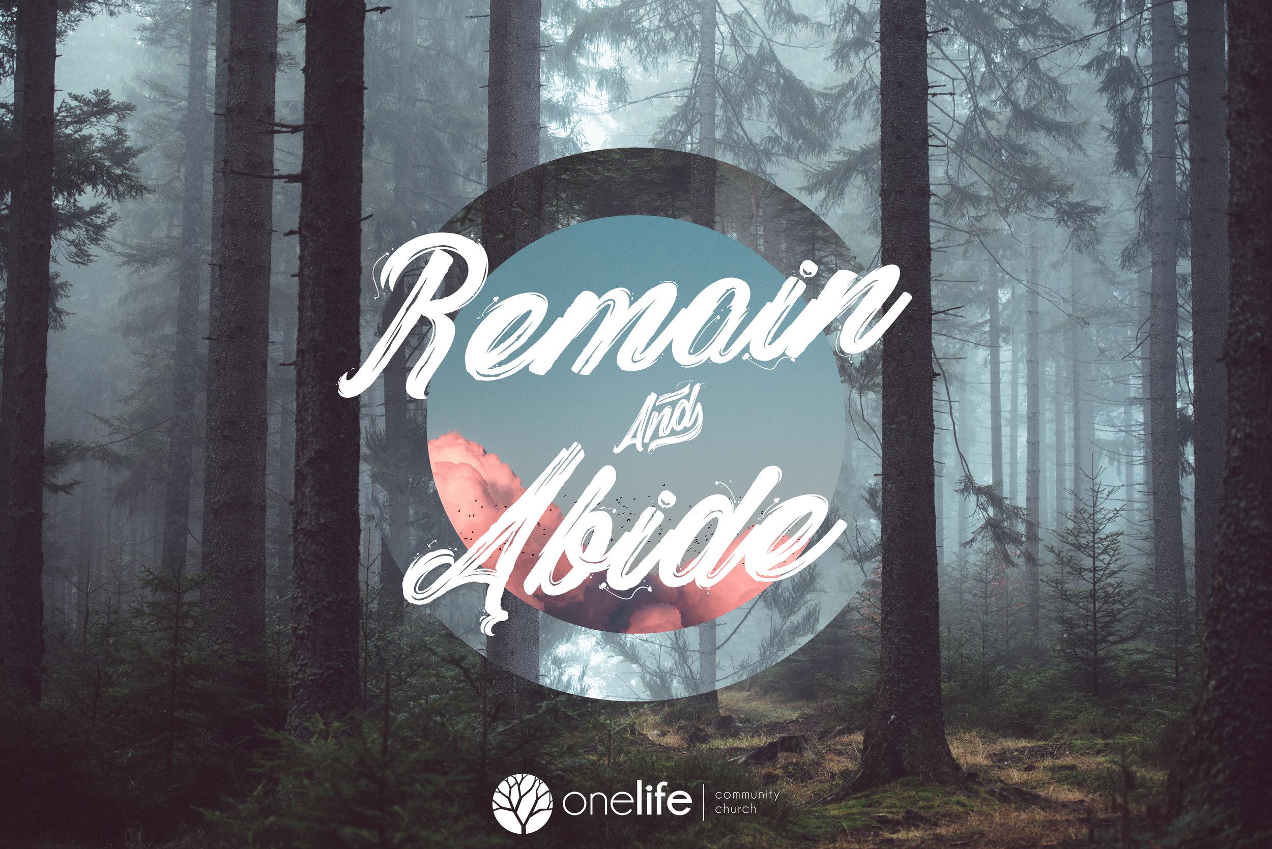 Remain & abide - Three-week series in November 2018!
