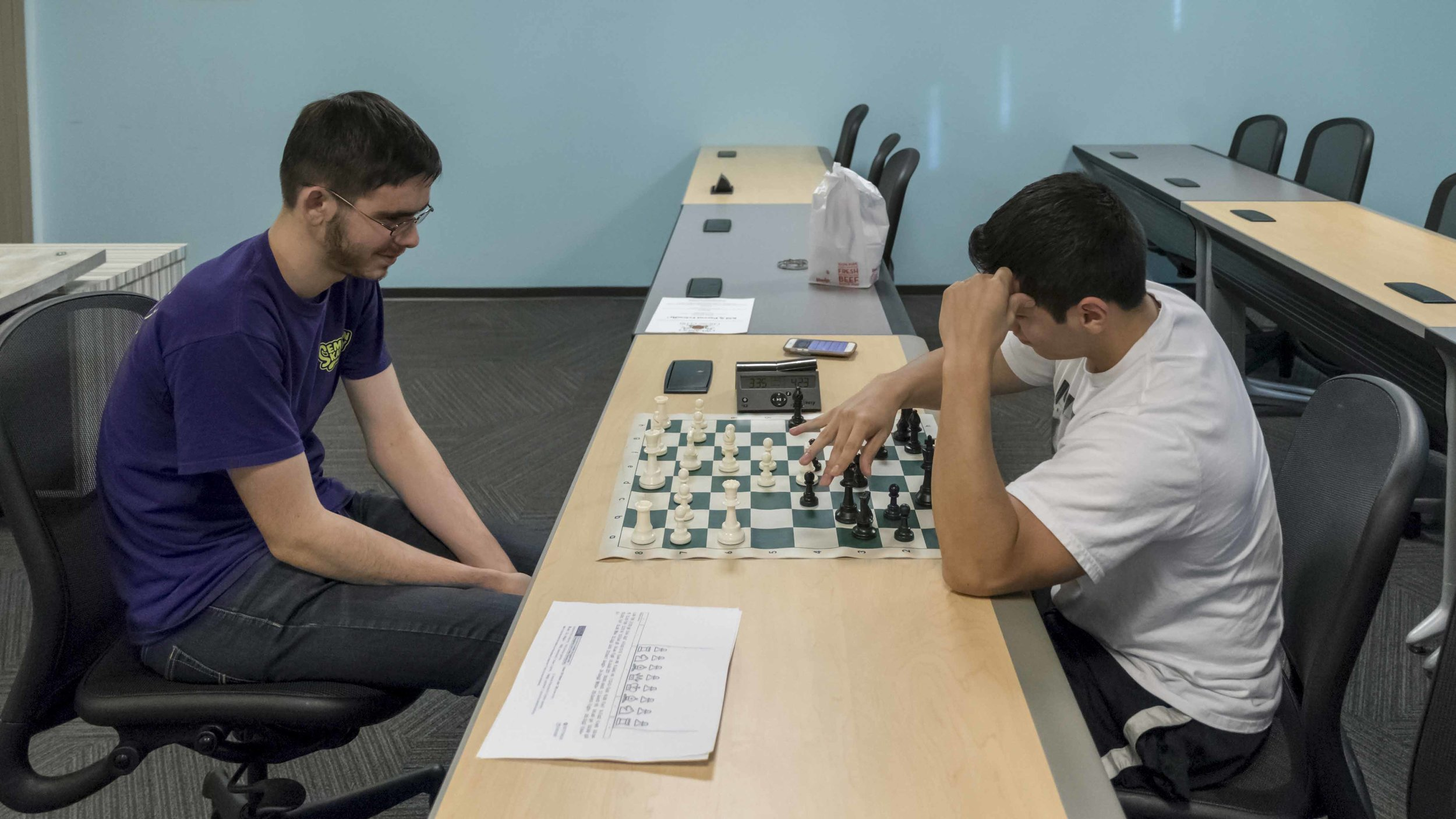 NM John Ludwig (2450) (L) in a casual game with Rafael Rasado (1282) (R)