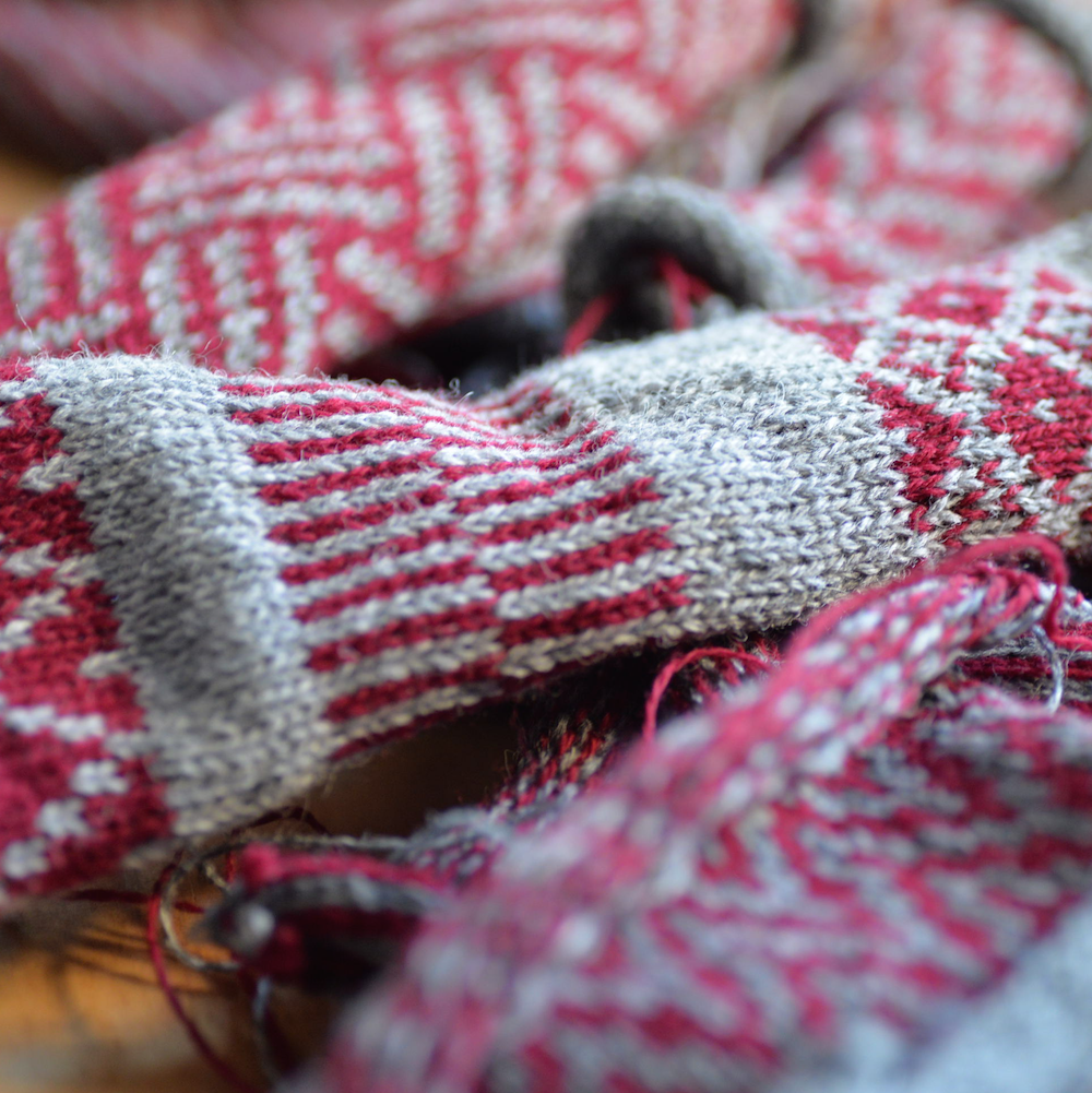 Fair isle swatches made on a standard gauge punch-card machine