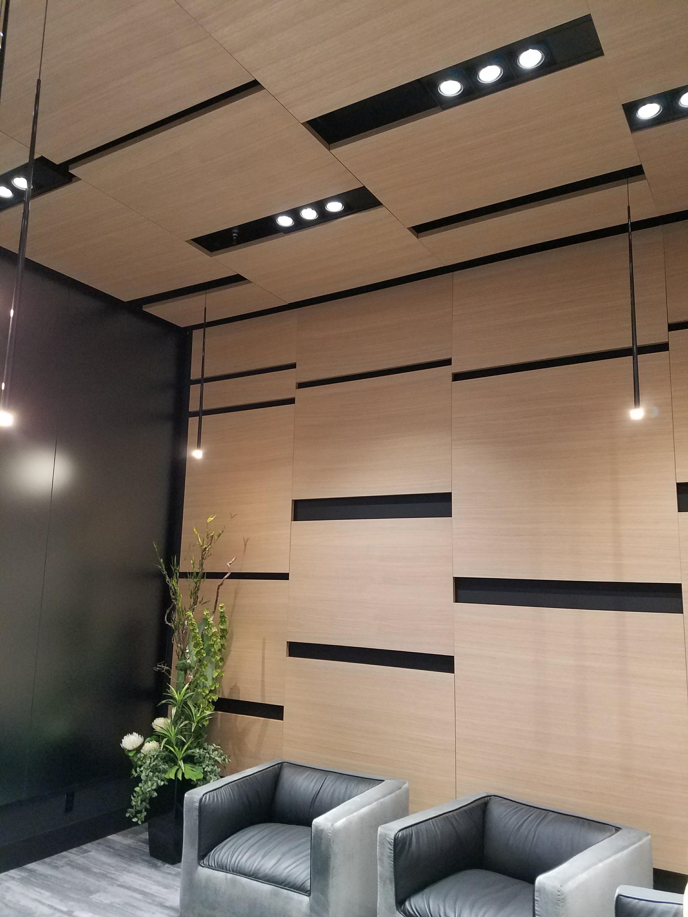 Oberflex paneler i Tectonique 5.5 serien kan benyttes på tak og vegg.