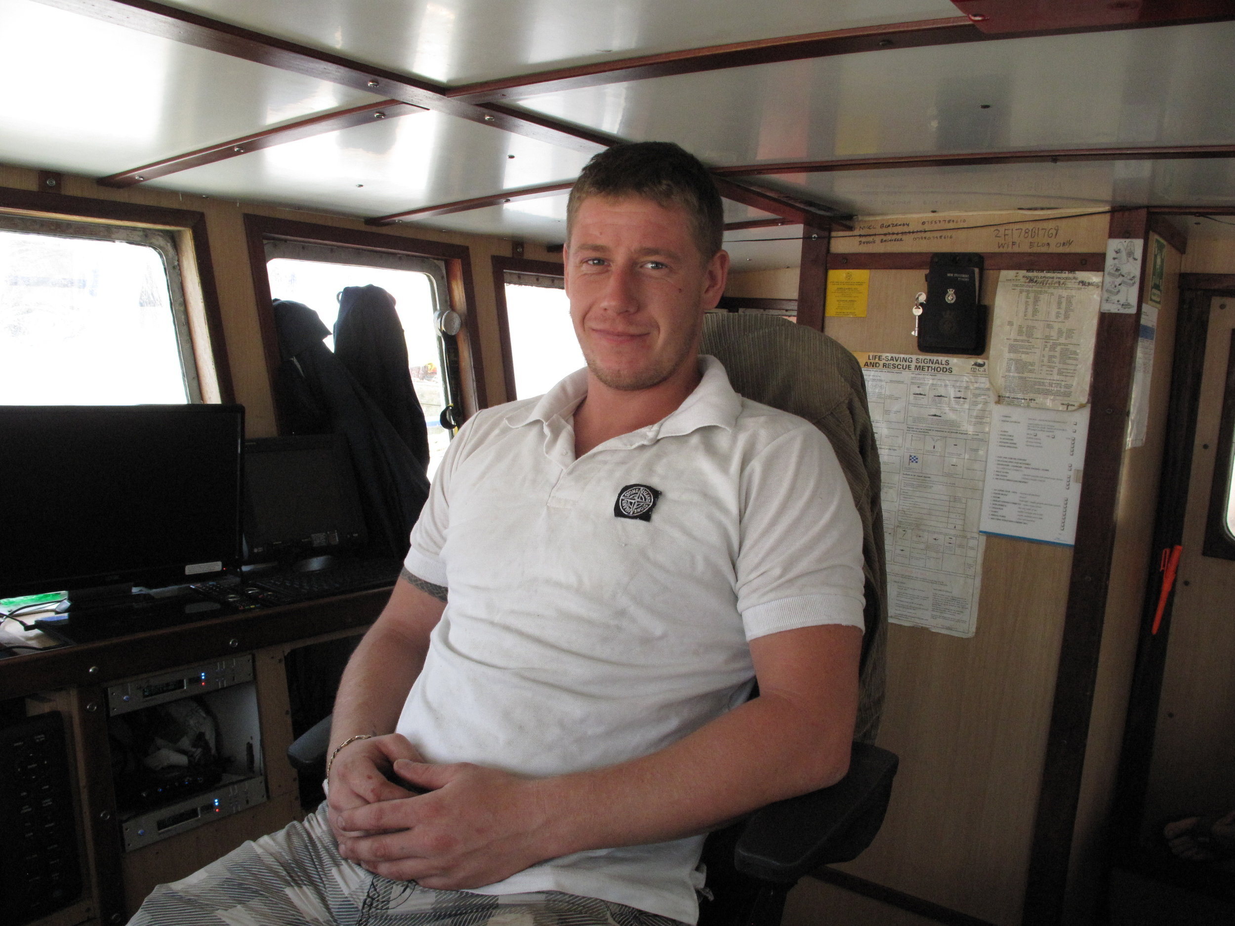 Skipper: Stacey Gambrill - Today Charisma's skipper Stacey Gambrill is one of the youngest in the fleet. Still in his twenties, he has plenty of experience behind him, staring with Phil Mitchell on the Govenek of Ladram, before spending seven years fishing with Jim Mitchell, first on the Gary M and then as deck boss on Waterdance's Joy of Ladram. 'I learned a lot from him,' said Stacey Gambrill, who always looks forward to the turbot and brill fishery in the summer as the most interesting time of year. 'If you watch a lot, then you learn a lot.'