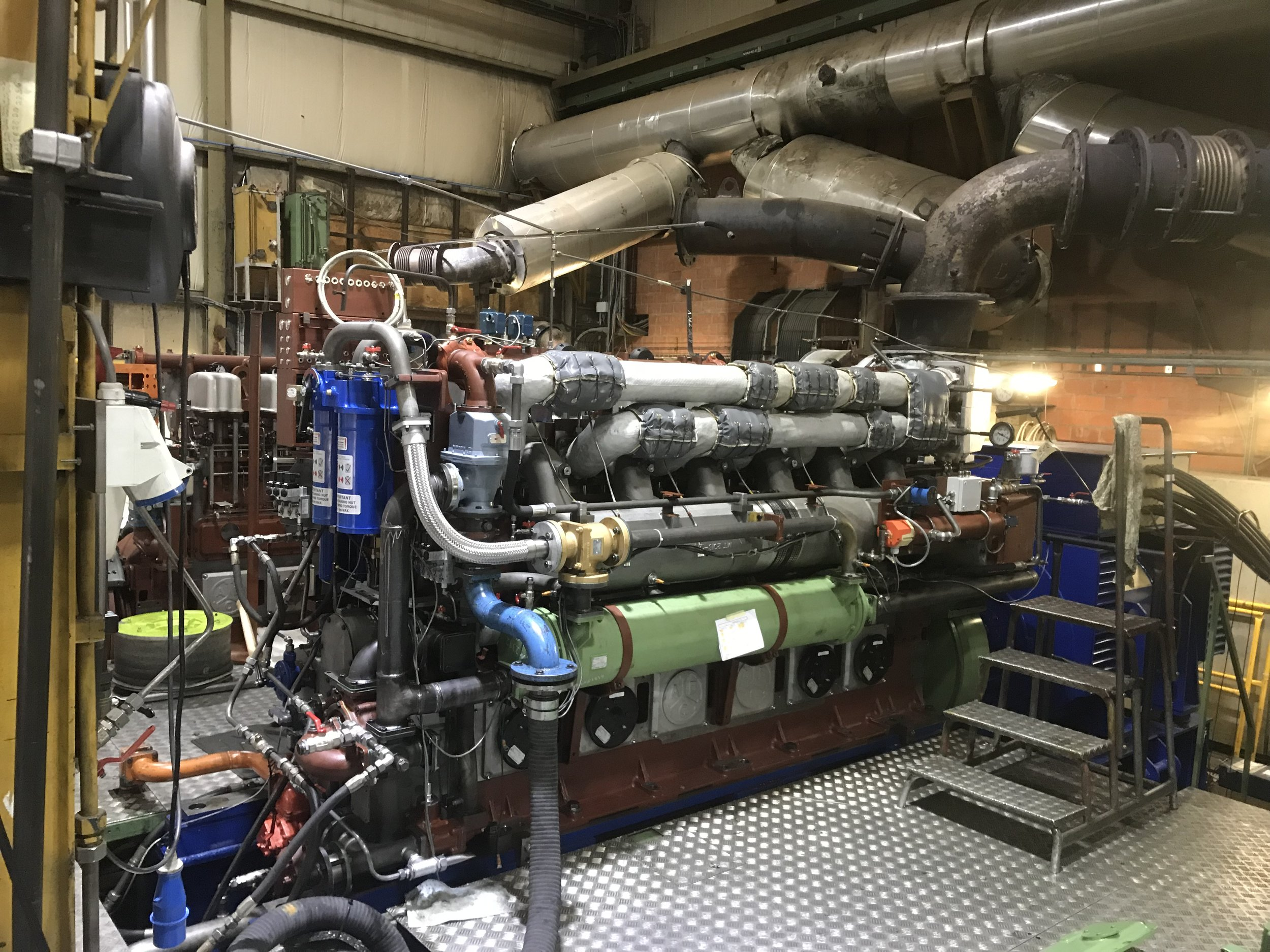 New engine for the Georgina of Ladram Under test at the ABC factory in Belgium