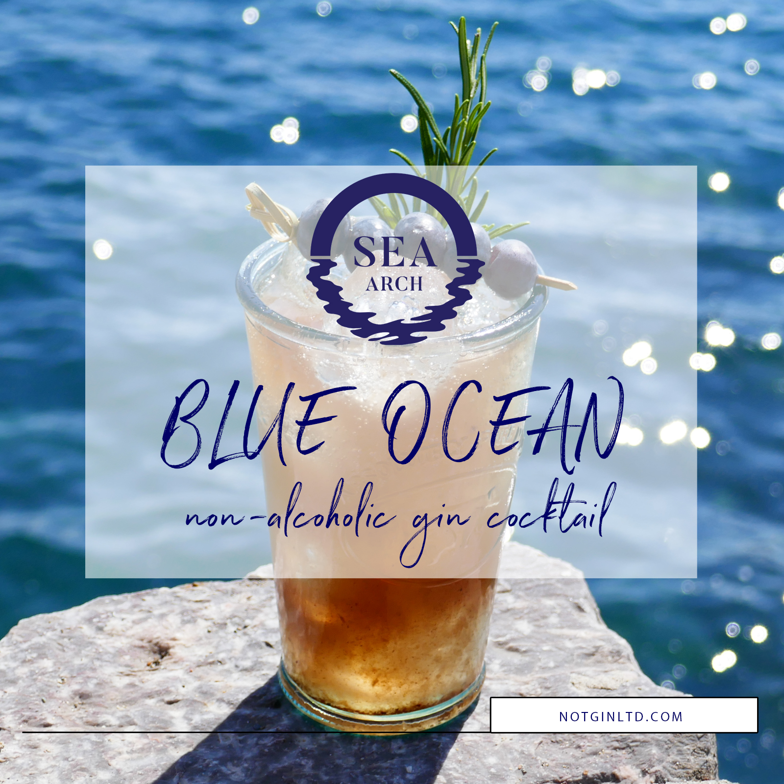 Blue Ocean non-alcoholic gin cocktail