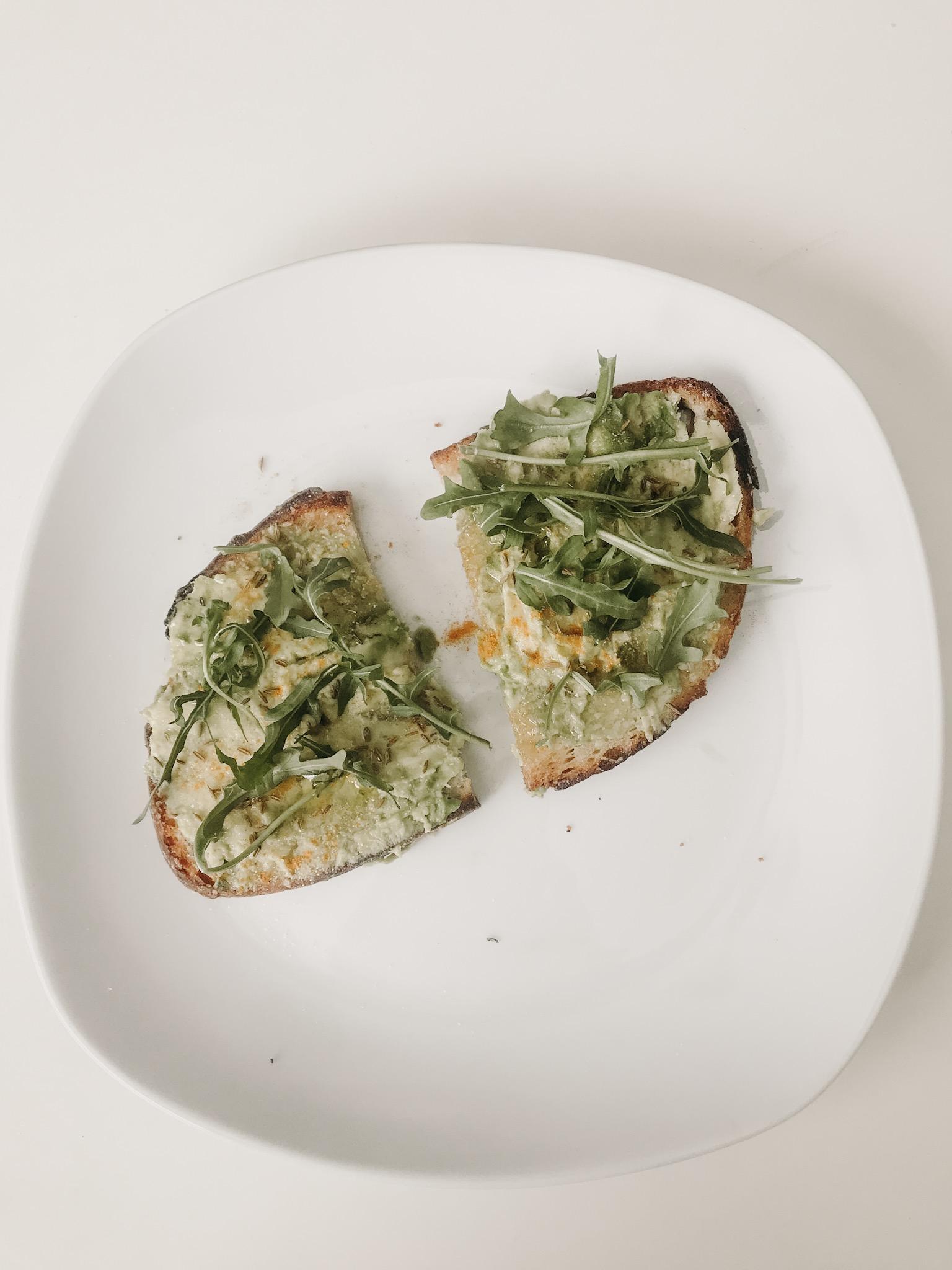 boujee avocado toast - + bread+ avocado+ arugula + salt and pepper+ cumin+ turmeric+ garlic powder