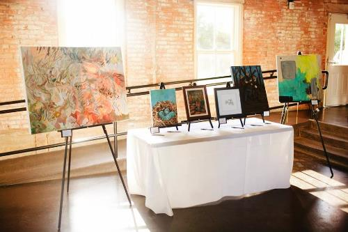 Art from the silent auction by Erika Huddleston, Jenny Grumbles, Kenton Visser, Tiffany McAnarney, Mark Renner, and Nicole Morrow