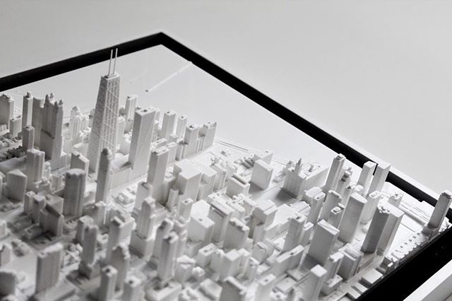 Hancock Tower and #Streeterville miniaturized! 🏙 Part of the #CampbellCollection #HancockSeries. #citymini #architecture #arch #chicagoarchitecture #caf #interiors #chicagoart #chicagomakers #urban #chicago #interiordesign #homedecor #passionproject #3dprinting #3dprinter #3d #3dprinted