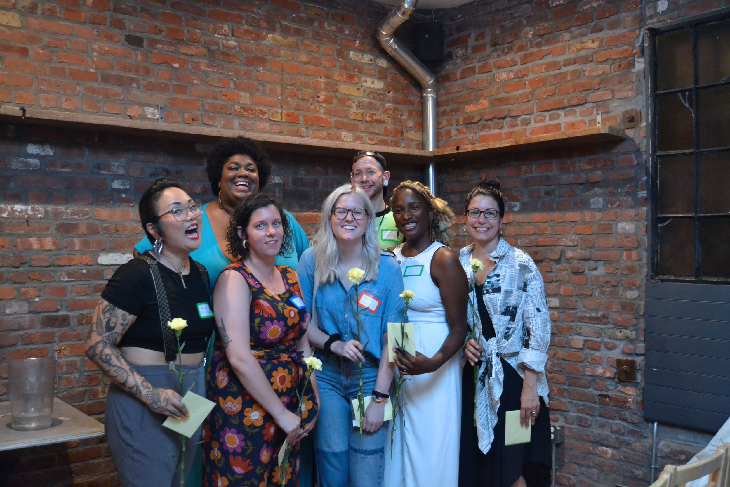 Our storytellers from left to right - Jin, Cathleen, Mary, Caroline, Avalon, Dominique, and Zoe (not pictured Ali Weiss and Shalewa Sharpe)
