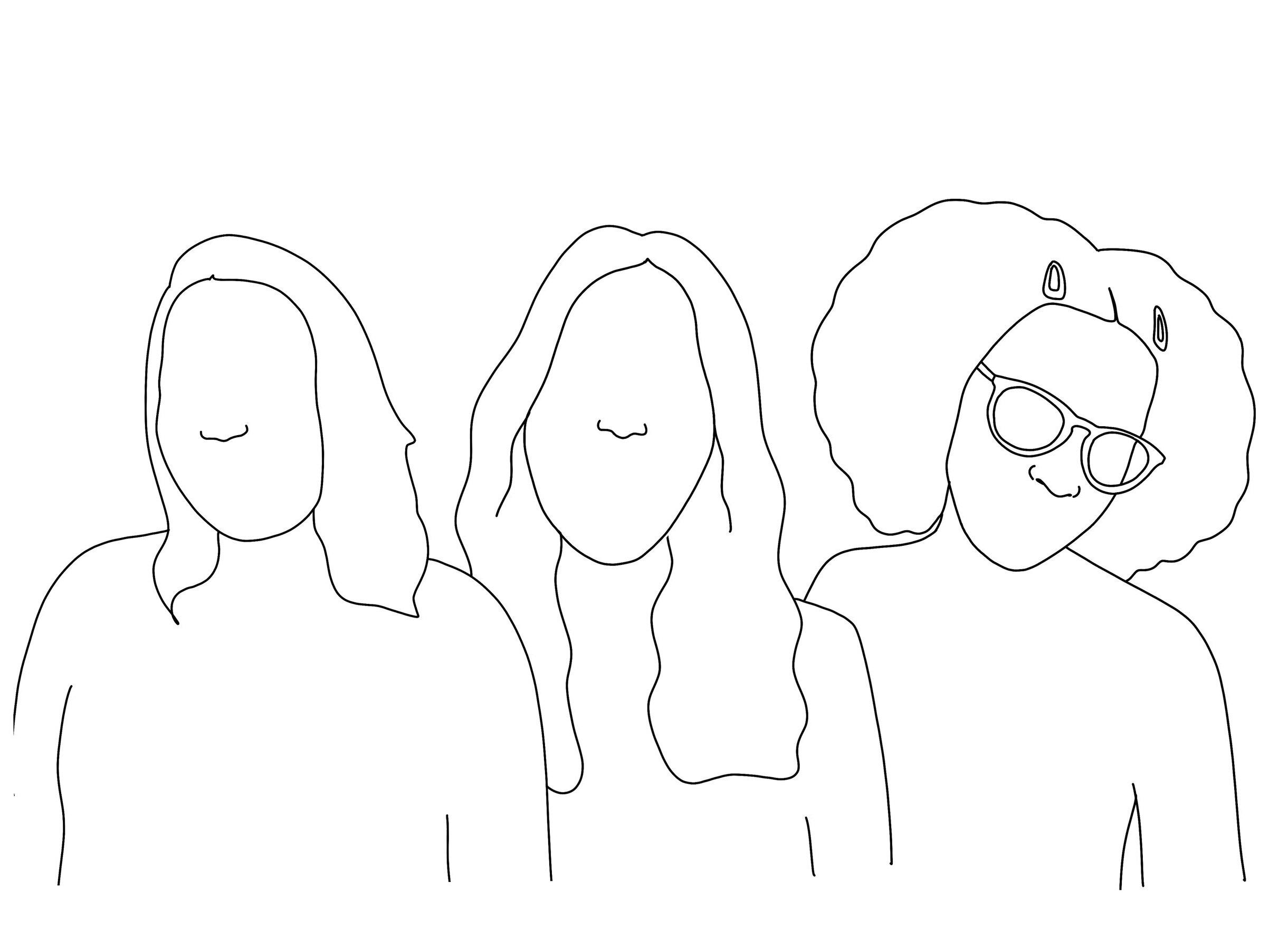 Body Type editors - Sabrina, Ilana, and Heaven. Original illustration by  Caroline Reedy / @doot_doodles