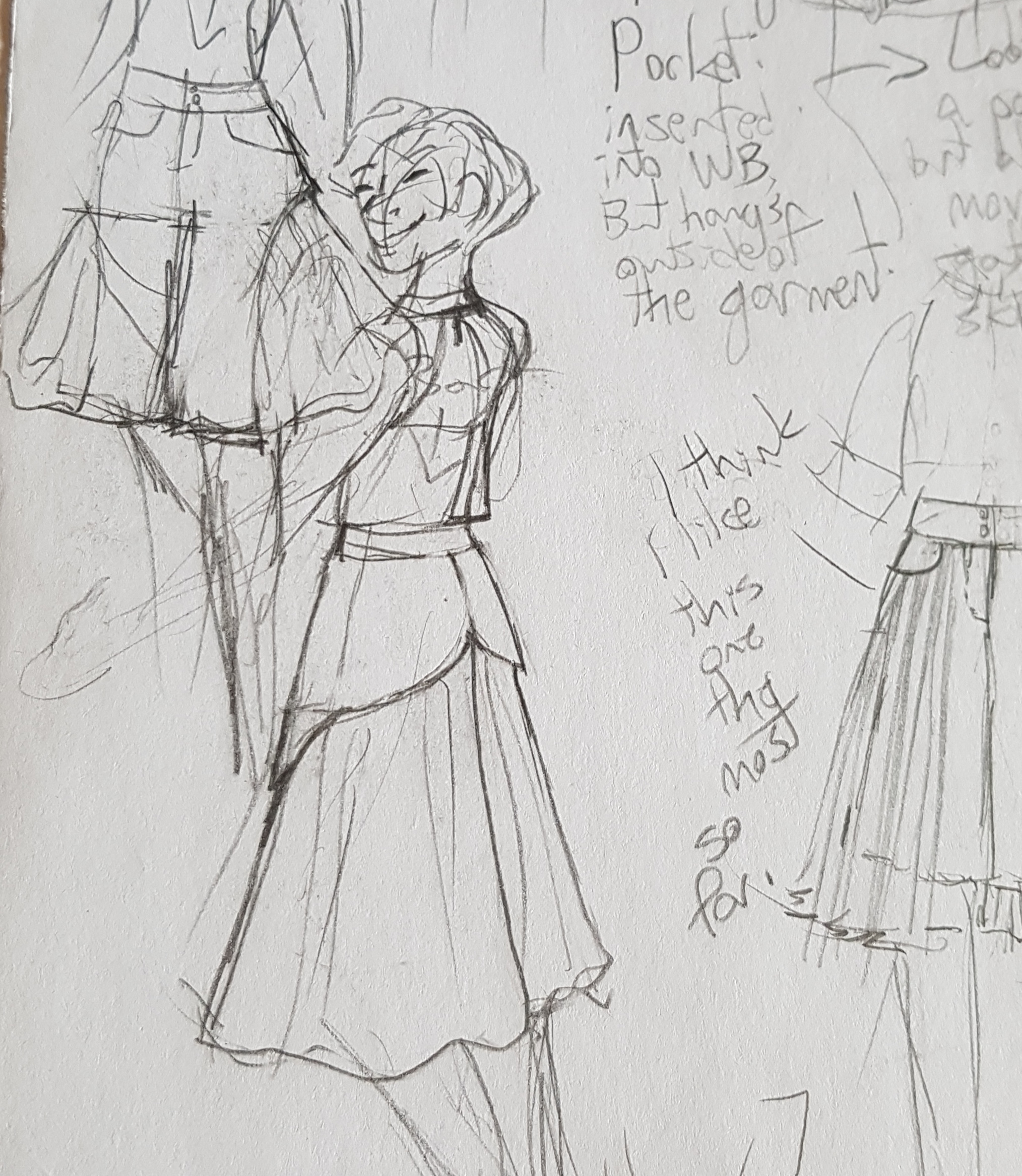 Caption: an excerpt from my sketchbook, with other sketches of shorts/culottes. Each sketch involves fullness in the legs to mimic a skirt.
