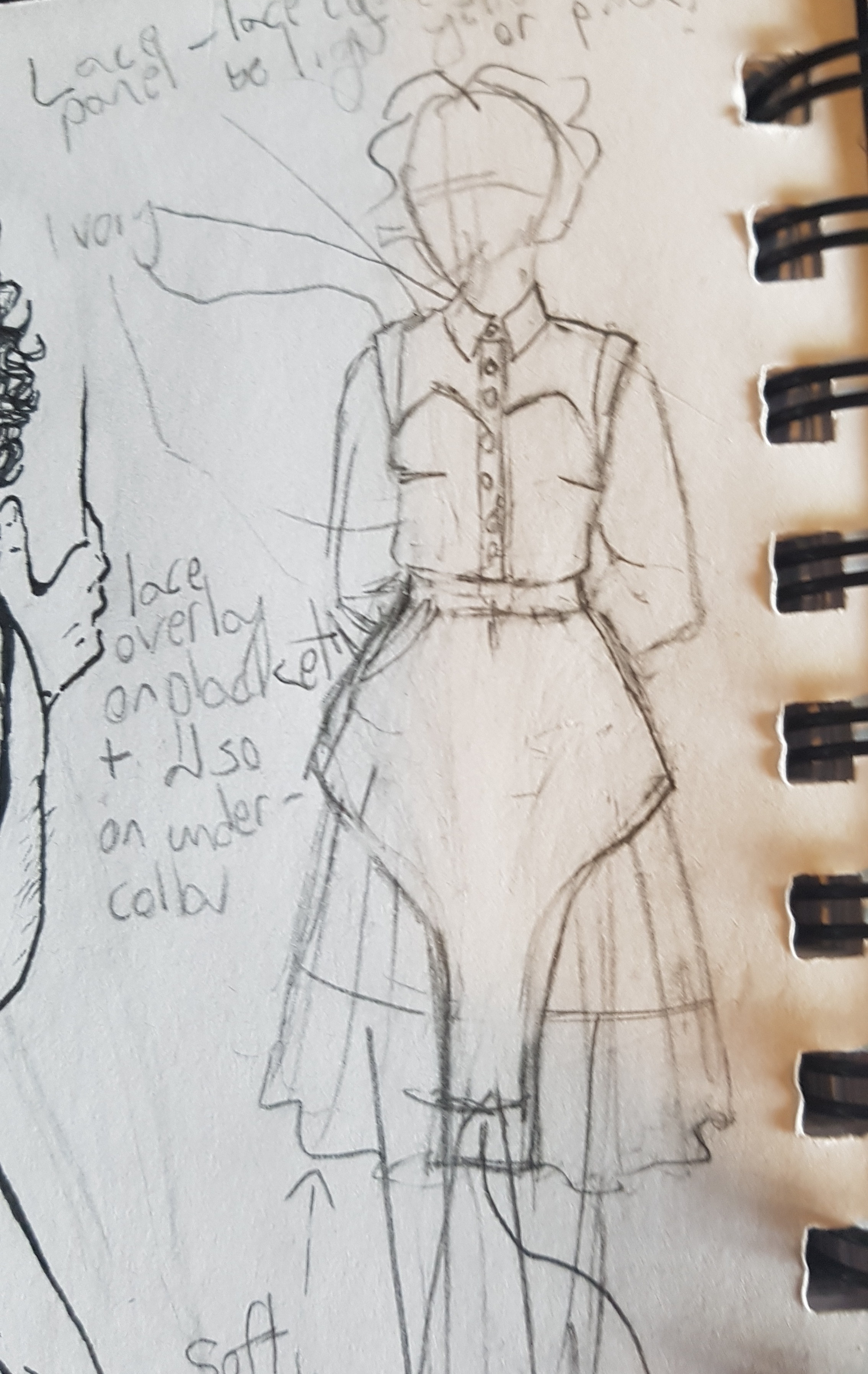 Caption: Another excerpt from my sketchbook; this time, it's a close-up of the front of the Amelia skirt. The sketch model has their arms behind their back, a sweetheart neckline blouse with no sleeves, and the skirt hem ends a bit above the knee.