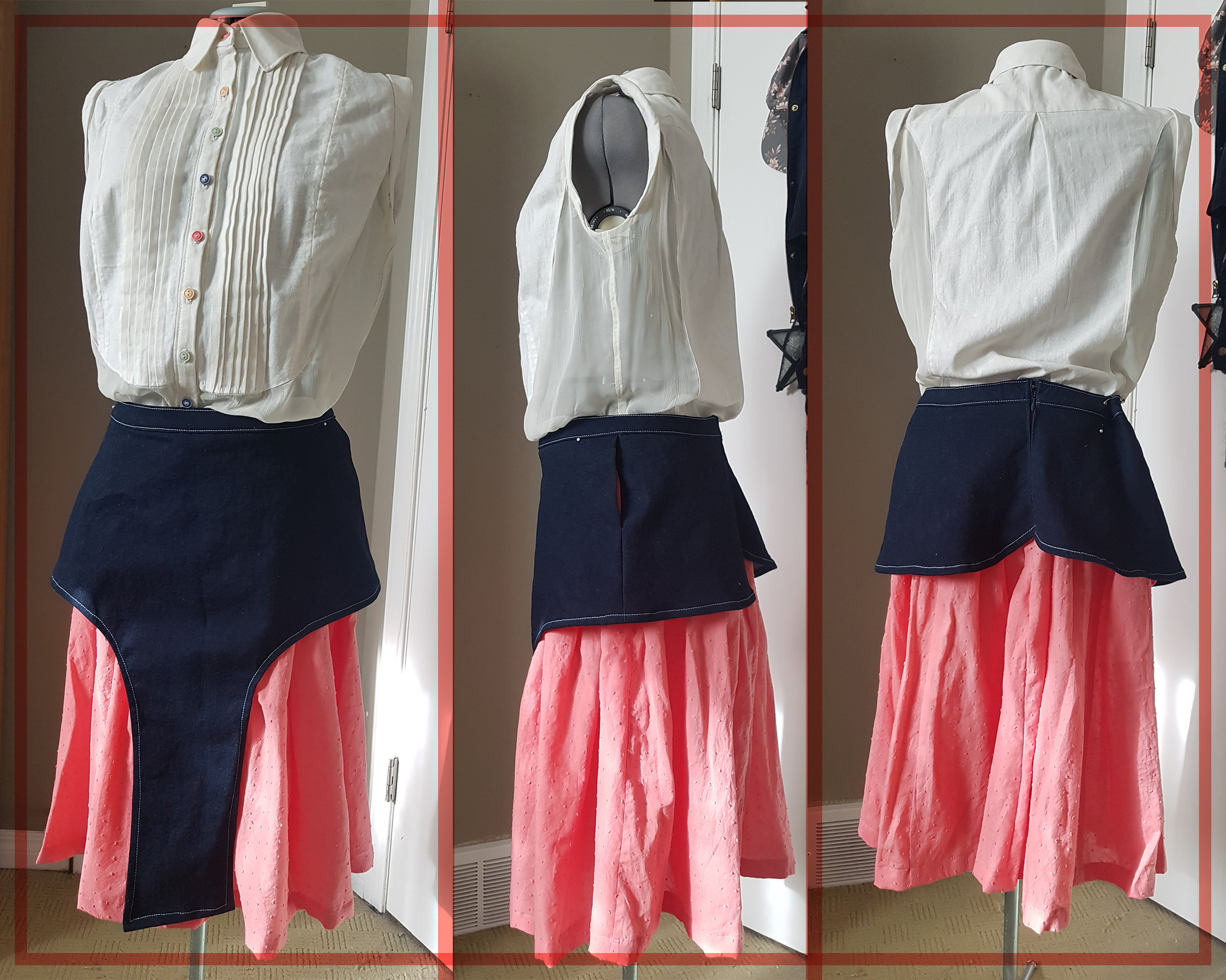 Caption: Three photos of the Amelia Ensemble, presented as a turnaround: front, side, and back view. The Amelia Ensemble includes a sleeveless ivory blouse with front pintucks, sheer side panels, shoulder caps, and different coloured pastel buttons for the placket; it also includes a gathered pink swiss dot skirt with a denim peplum overskirt that's the same length as the pink skirt at the front, but quickly shortens to the hip at the side seam and meets as petals in the centre back.