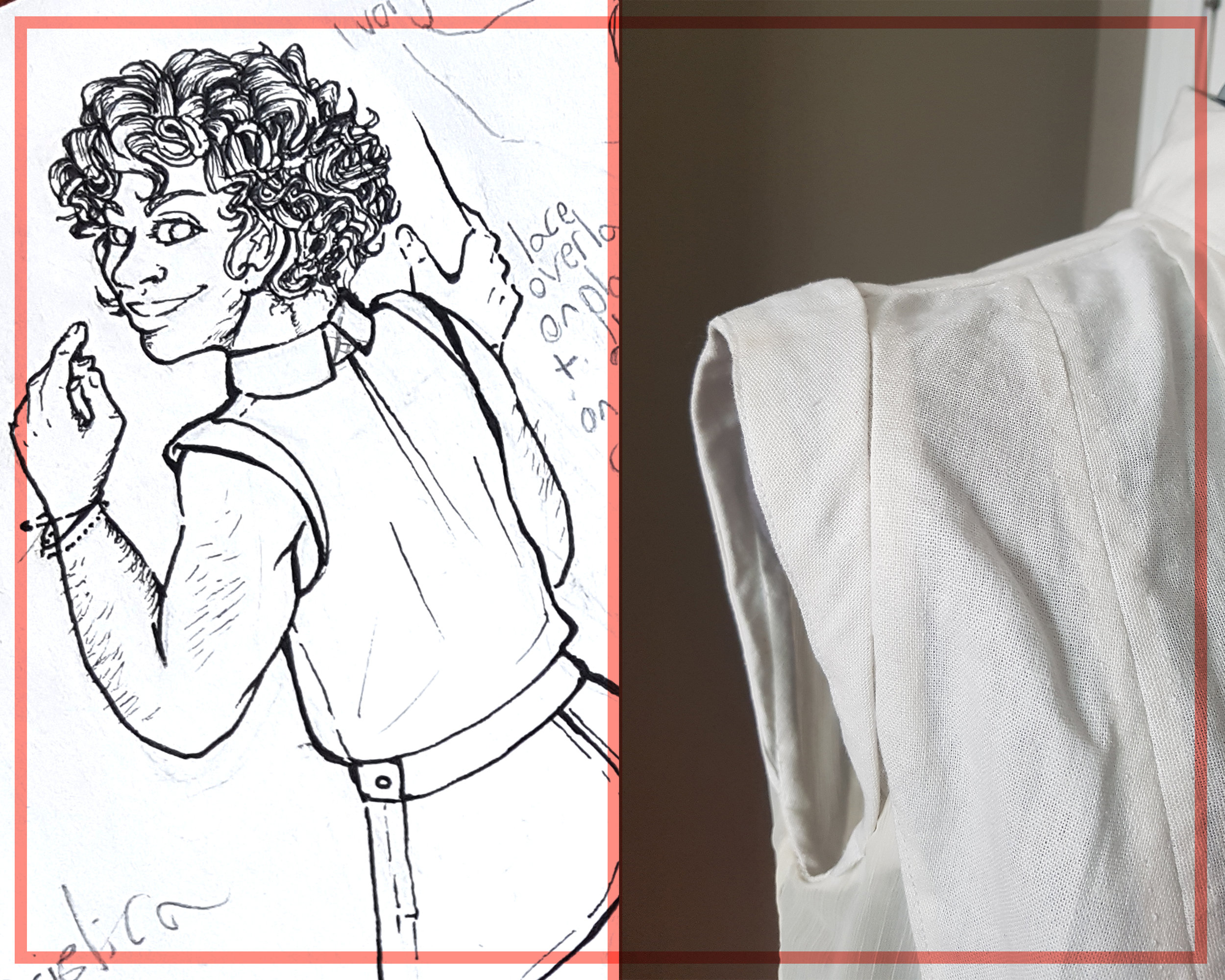 Caption: A side-by-side comparison of my original drawing of the Amelia Ensemble and a close up photo of the armhole detail. The sketch has shoulder caps that are lifted off of the shoulder very slightly; the caps on the actual blouse are basically flush to the shoulder.