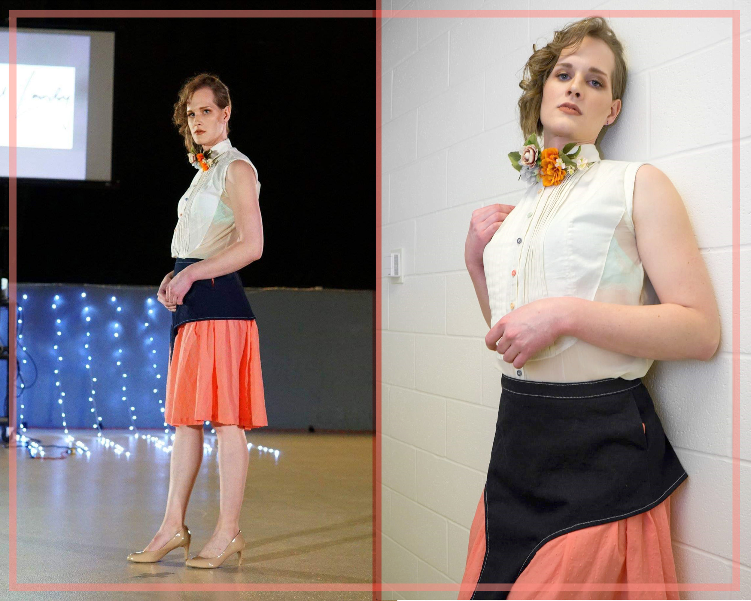 Caption: Picture 1: Alison Ashdown, a trans model with curly brown hair pulled to one shoulder, giving us a 3/4 view of the Amelia Ensemble.  Picture 2: Alison again, behind the scenes, leaning against a brick wall in the Amelia Ensemble. She's wearing a collarpiece with fabric flowers coming off of it, a la the Gucci collar from above.