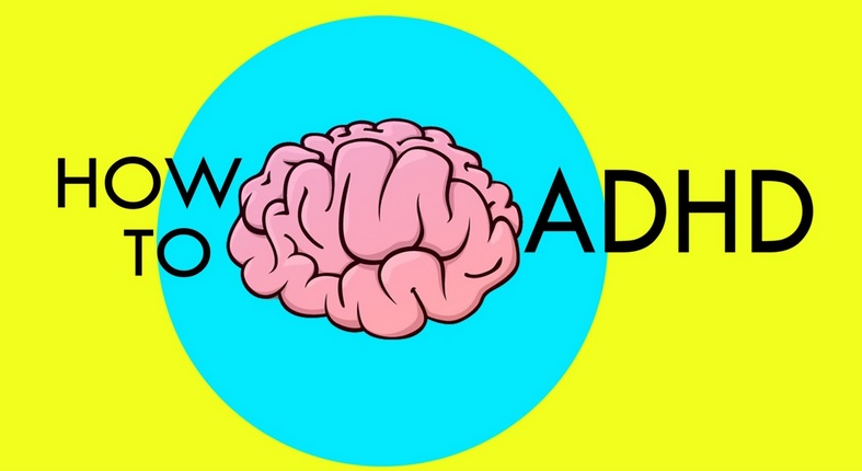 "The logo for Jessica McCabe's ""How To ADHD"". It's a simple drawing of a pink brain inside a cyan circle, with ""How to"" on the left side of the brain and ""ADHD"" on the right. All of this is on a lemon yellow background."