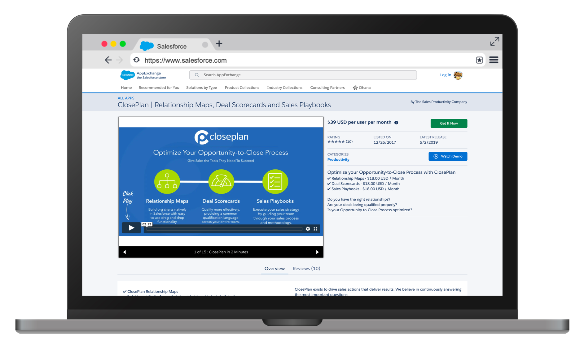 Install and Setup - Built with flexibility and ease-of-use in mind, ClosePlan is a Salesforce approved application.Install on your Salesforce instance in minutes and get your teams up and running with the tools they need to win.Install ClosePlan directly from the AppExchange or contact us for a customised ClosePlan demo.