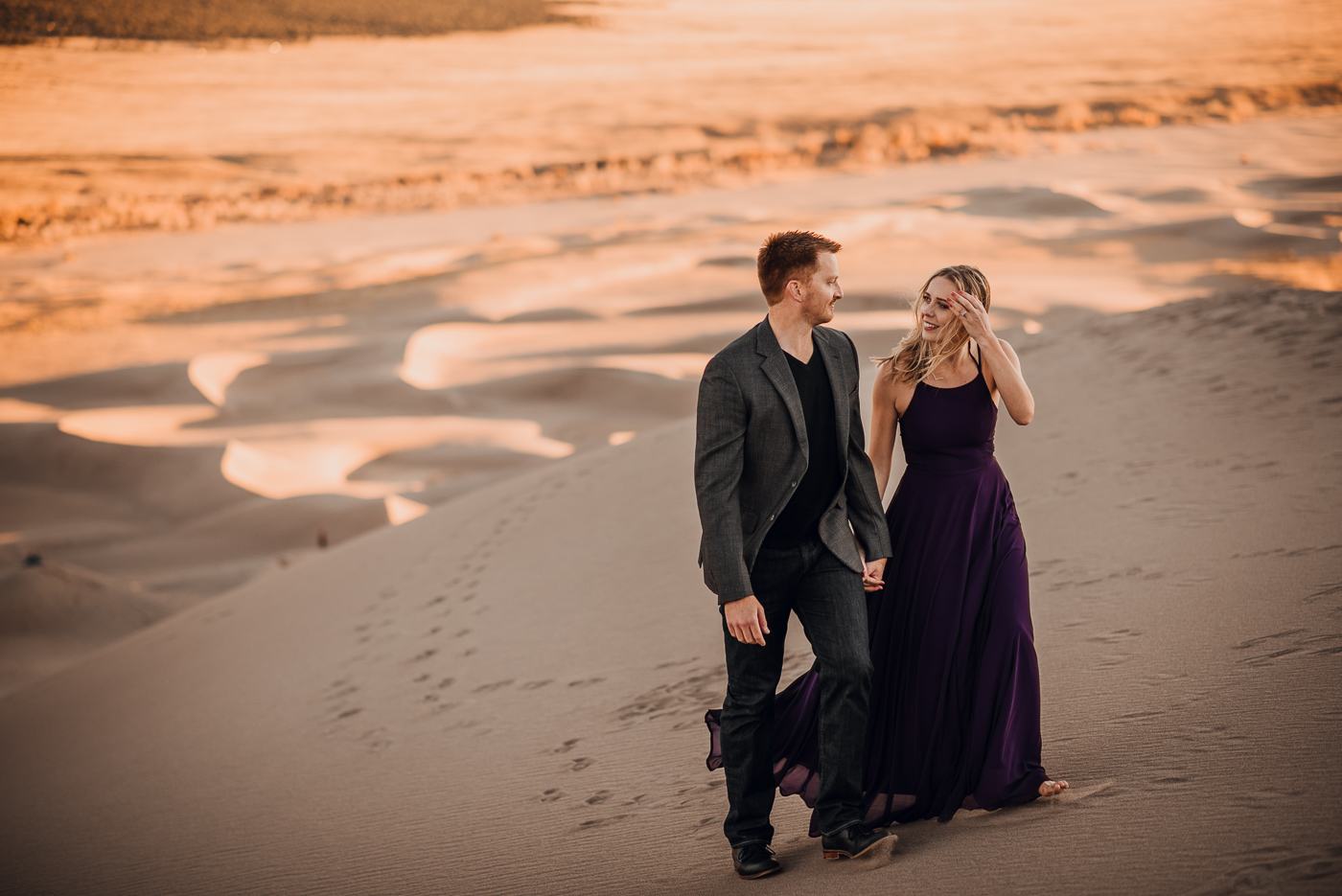 Great Sand Dunes Engagement Session PHOCO Photographer Colorado Flowy Dress Dark Moody-4.jpg