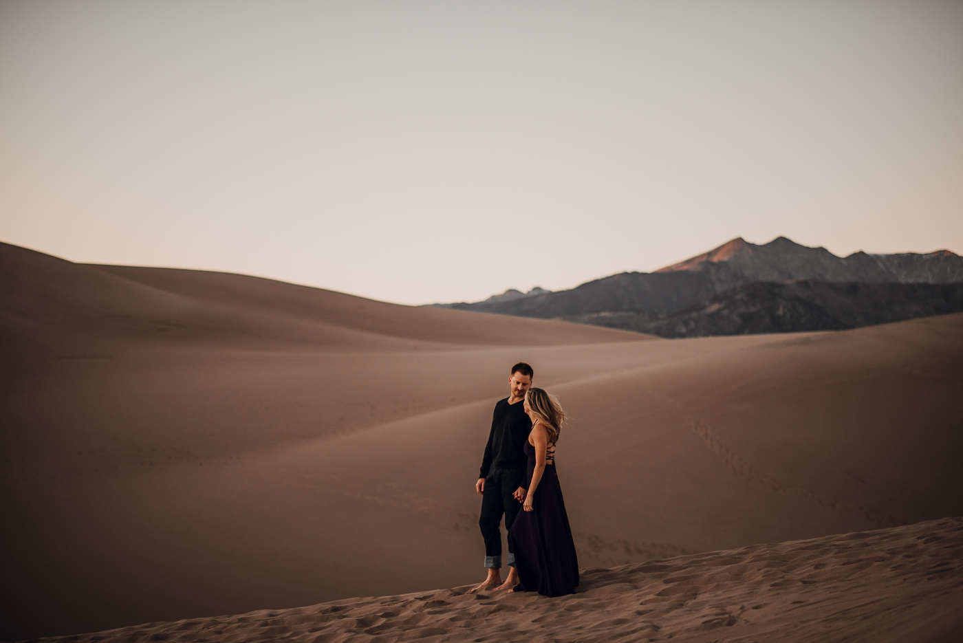 Great Sand Dunes Engagement Session PHOCO Photographer Colorado Flowy Dress Dark Moody-10.jpg