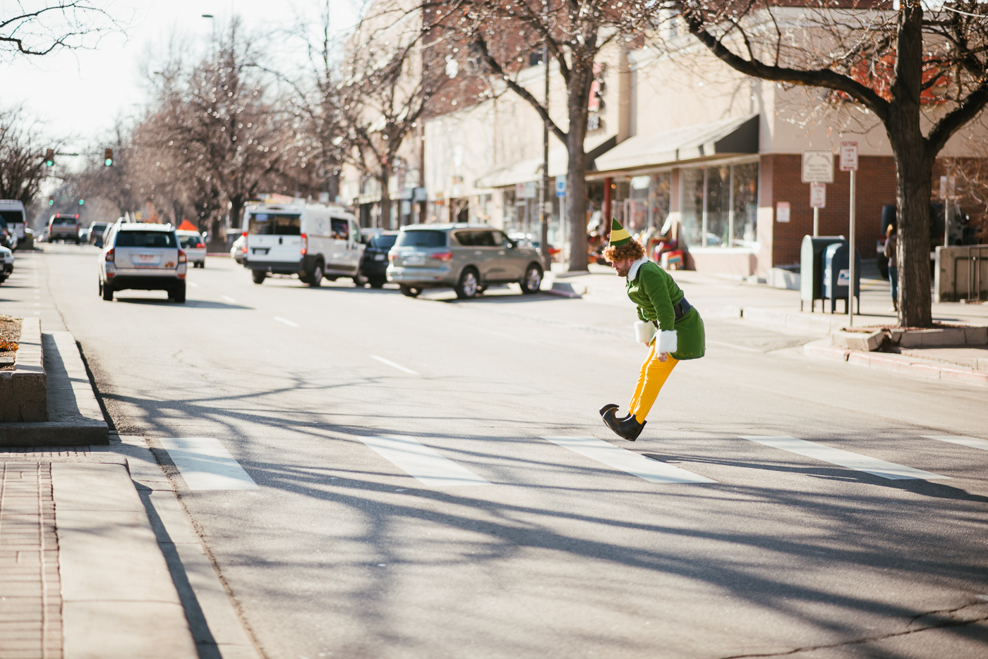 PHOCO Christmas Card Colorado Old Town Fort Collins Photographer Buddy the Elf BTS-3.jpg