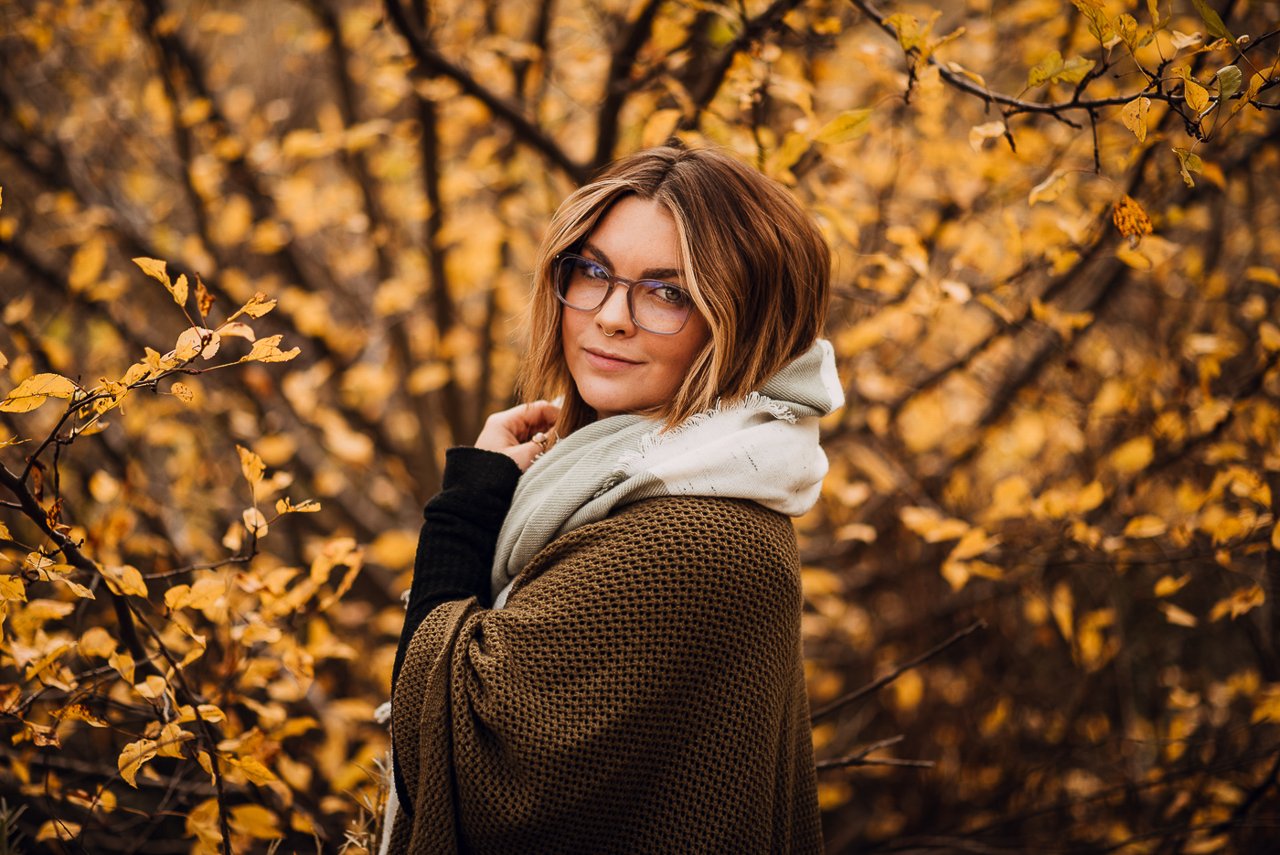 PHOCO Best of 2018 Photograph Fort Collins-47 Portrait Yellow Leaves fall scarf glasses Shaye Fitzgerald.jpg