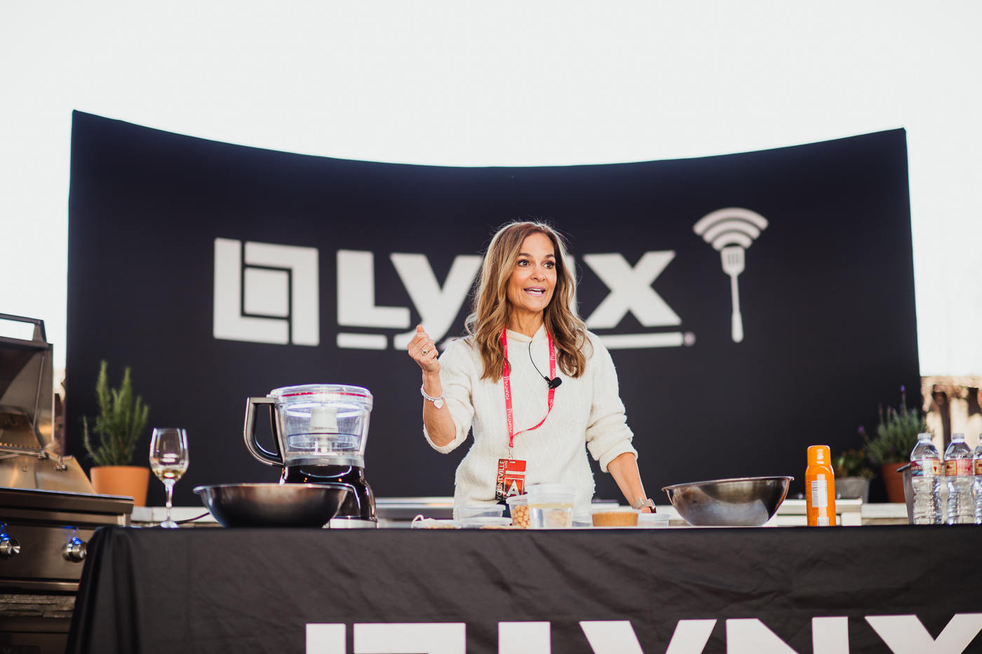 Joy Bauer of the Today Show teaches a cooking lesson on the Lynx Grill Stage during the Taste of Yountville on Saturday Afternoon.