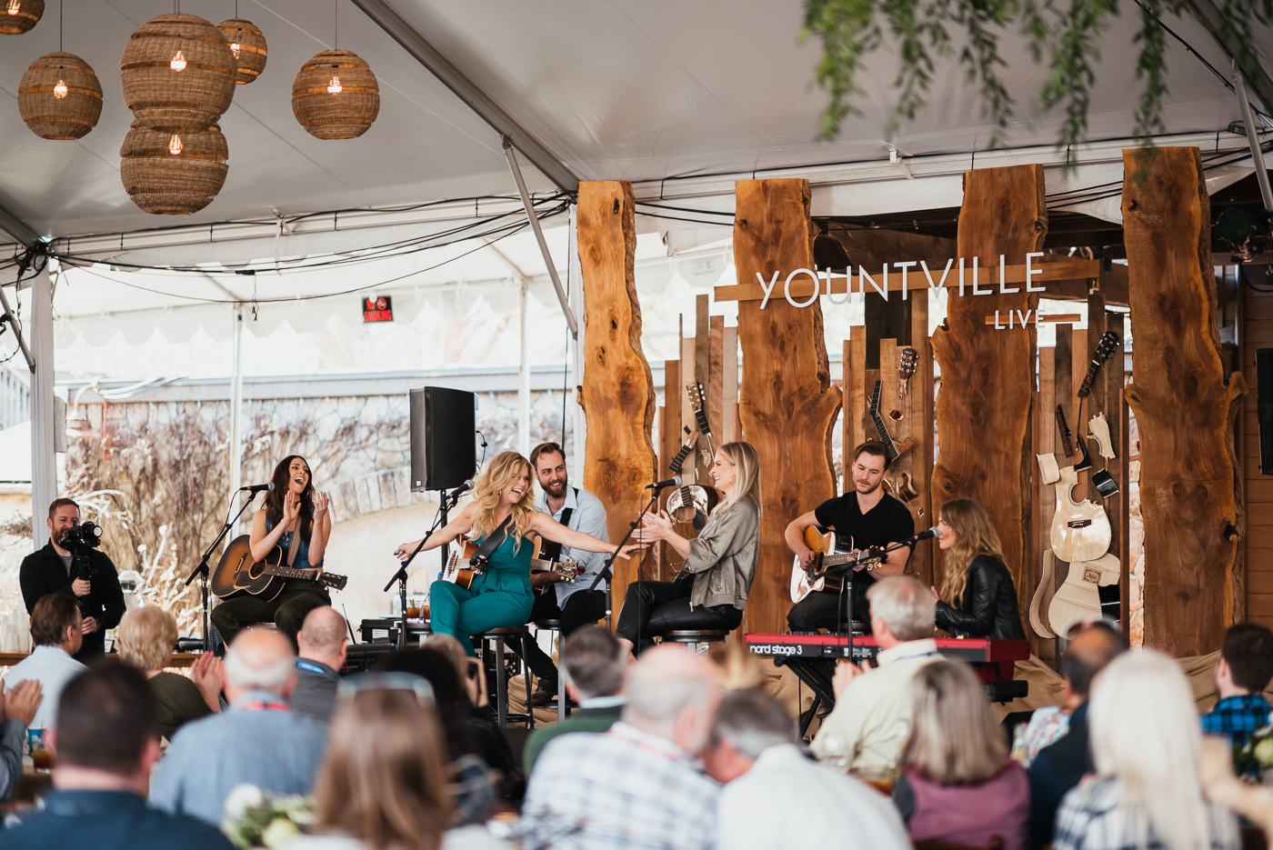 CMT Next Women of Country, Kelleigh Bannen, Natalie Stovall, Lauren Duski, and Ingrid Andress perform side by side in a traditional country music round for the Bubbles Brunch.