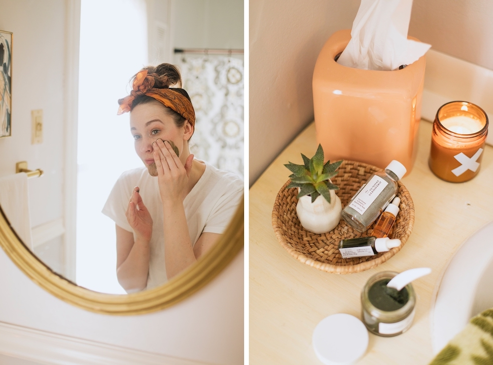 Products Pictured: The Sunday Standard mask, cleanser, and oils, Wax Buffalo candle, and vintage tissue box