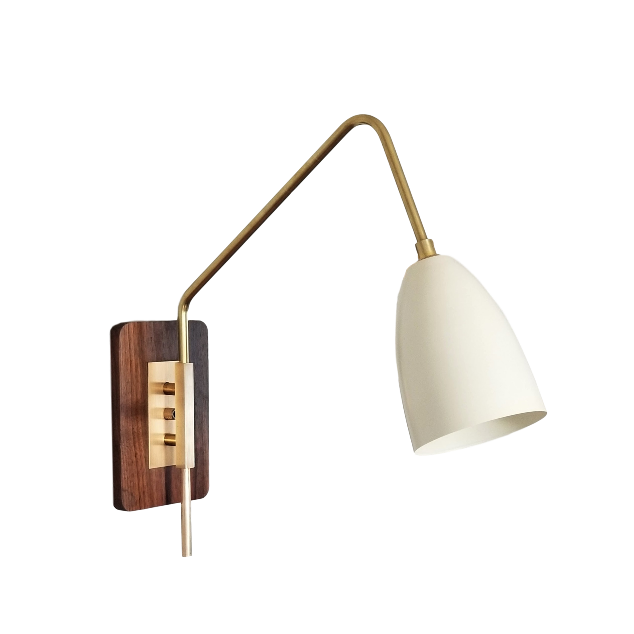 Elska Reading Lamp - $825.00Wall plug with switch(or dimmer) and all metal variants are available. Please inquire about these options.As Shown: Walnut & Natural Brass with Perfect White Shade.