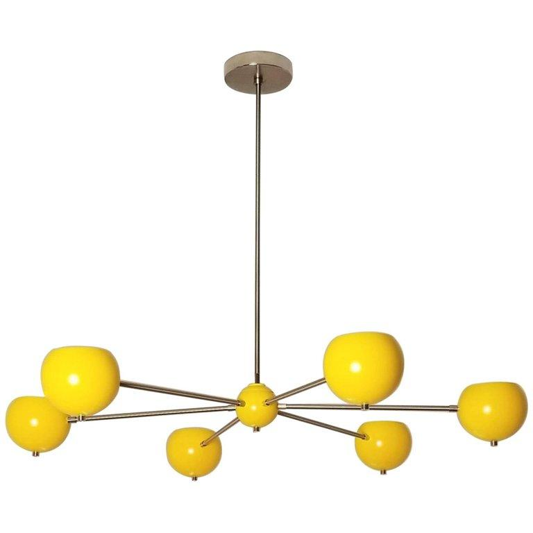 Aster Chandelier - $2000.00As Shown: Polished Nickel & Sunrise Enamel. Polished and Brushed Nickel is an up charge on chandeliers.