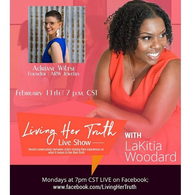 Good Monday Morning y'all! Please join @asisterstruth and me tonight on Facebook at 7 pm central for the second season and second episode of Living Her Truth. I am humbled by @asisterstruth invitation to tell my story and talk all things @arwjewelry 💎 As you may know, I believe when we tell our story we heal ourselves and by healing ourselves, we help heal others and it creates a ripple effect. I would love for you to join us. Link is in my bio! . . . . . #Repost @asisterstruth with @make_repost ・・・ Hey sis hey! I had such a great time on my season premiere of LHT. I pray you did too but if you missed it definitely check out the replay on facebook.com/LivingHerTruth. I'm not doing the LIVE interview here on IG so you have to follow me on Facebook. . . My next conversation is with this beauty @arwjewelry Adriane on Feb. 11th at 7pm CST. I keep saying this but I'm VERY excited for my interview with her because she has such an amazing story to share. Please join me over on Facebook to hear all about it. I have some amazing conversations scheduled so please join me and remember to #tagafriend. . . . . . . . . . . . #asisterstruth #sistercoach #2019goals #instagoals #fixmylife #patience #selfvalue #breakthecycle #lifematters #vulnerability #selfjourney #heal #endsomesticabuse #forwardmovement #youaregoodenough #lovingyourself #lovetoloveyourself #happymindhappylife #beproudofwhoyouare #inspirational #successmindset #instafamous #instafacts #instapic