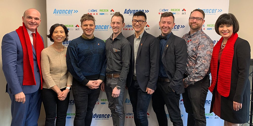 Randy Boissonnault, M.P., Special Advisor to the Prime Minister on LGBTQ2 issues, Dr. Theresa Tam, Chief Public Health Officer of Canada, and The Honourable Ginette Petitpas Taylor, P.C., M.P., Minister of Health, with members of the CBRC team during the official launch of   Advance   in Ottawa.