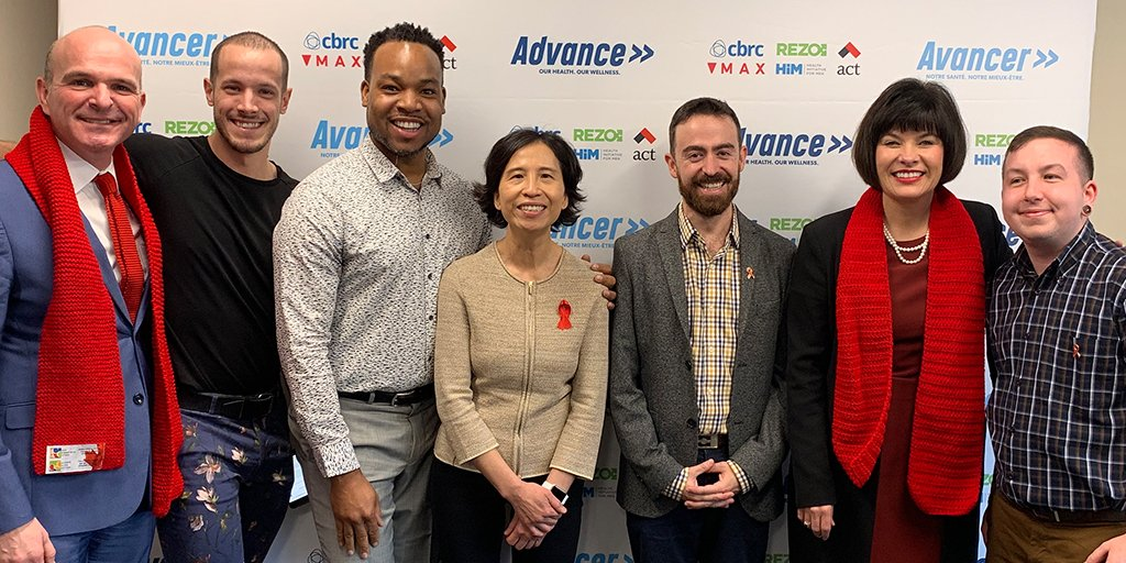 Randy Boissonnault, M.P., Special Advisor to the Prime Minister on LGBTQ2 issues, Dr. Theresa Tam, Chief Public Health Officer of Canada, and The Honourable Ginette Petitpas Taylor, P.C., M.P., Minister of Health, with members of the MAX Ottawa team during the official launch of   Advance   in Ottawa.
