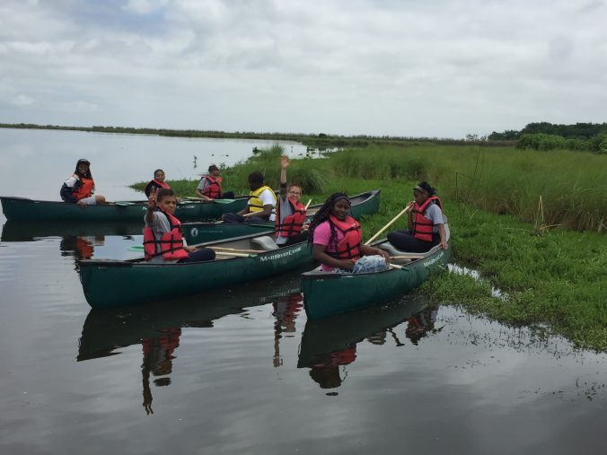 Students learn to canoe
